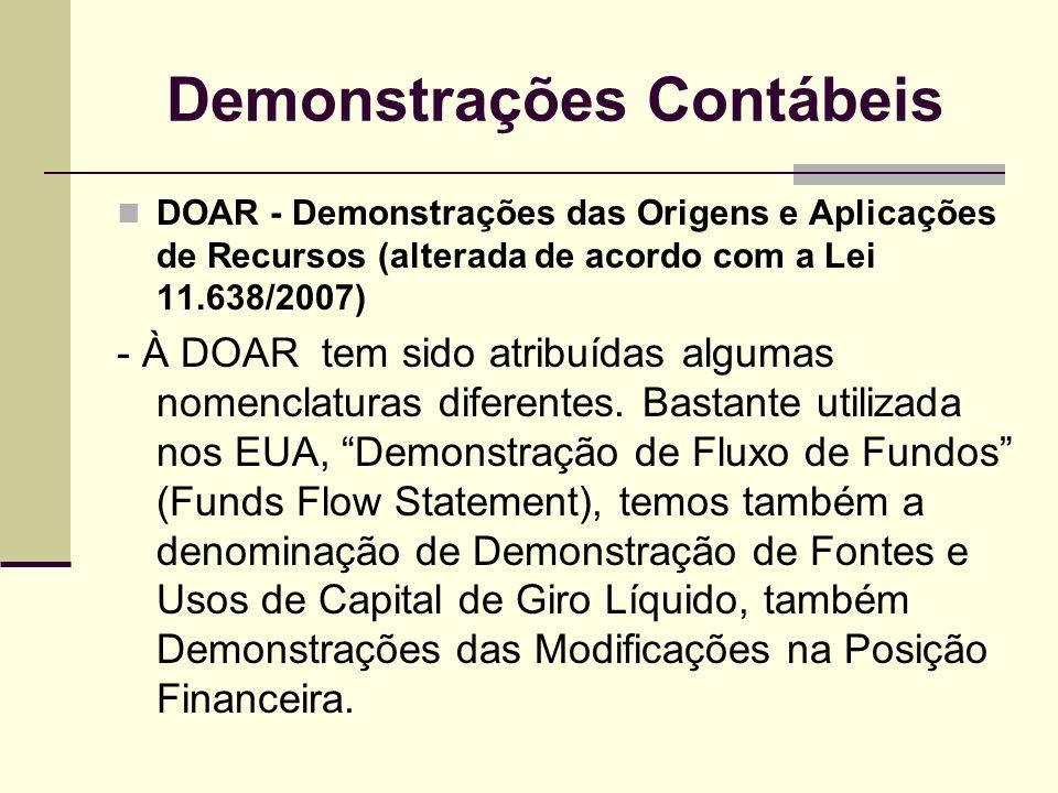 Demonstrações Contábeis DOAR - Demonstrações das Origens e Aplicações de Recursos (alterada de acordo com a Lei 11.638/2007) - À DOAR tem sido atribuí