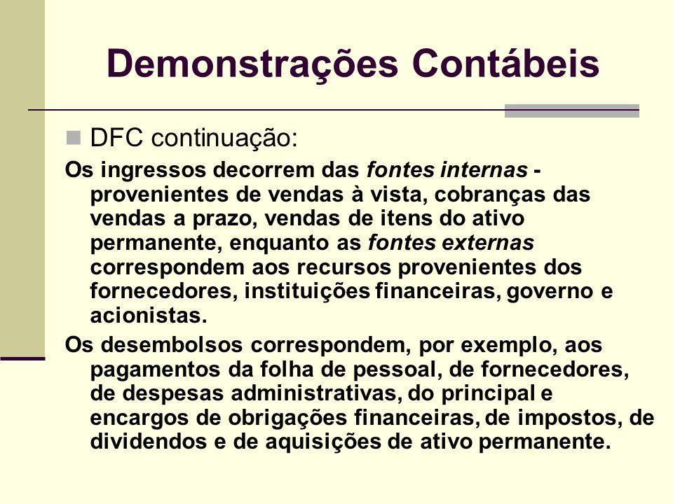 Demonstrações Contábeis DFC continuação: Os ingressos decorrem das fontes internas - provenientes de vendas à vista, cobranças das vendas a prazo, ven