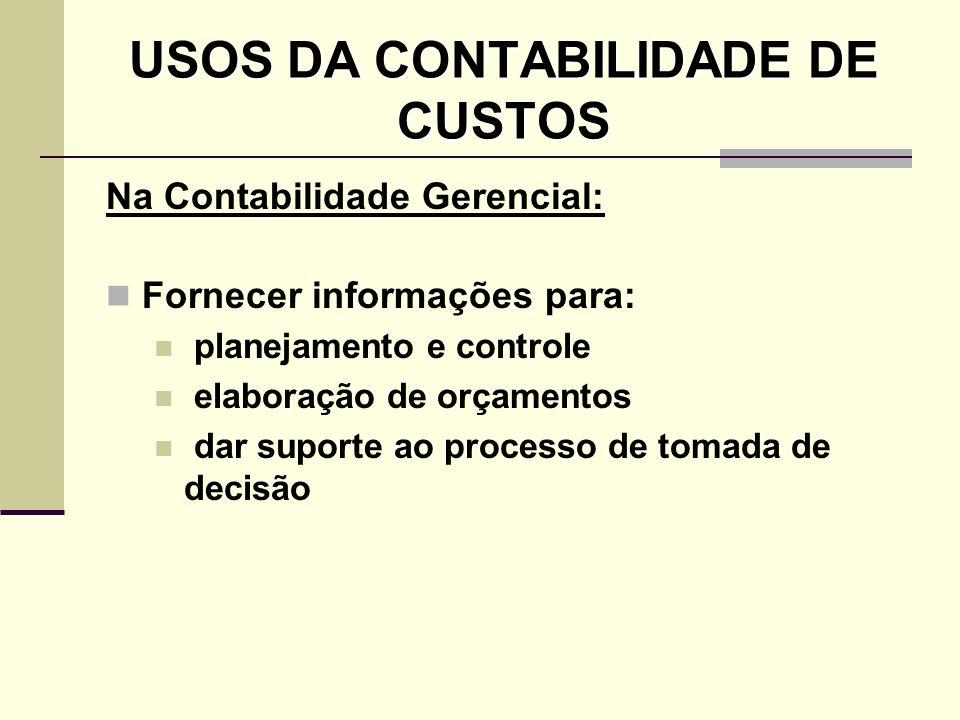 USOS DA CONTABILIDADE DE CUSTOS Na Contabilidade Gerencial: Fornecer informações para: planejamento e controle elaboração de orçamentos dar suporte ao