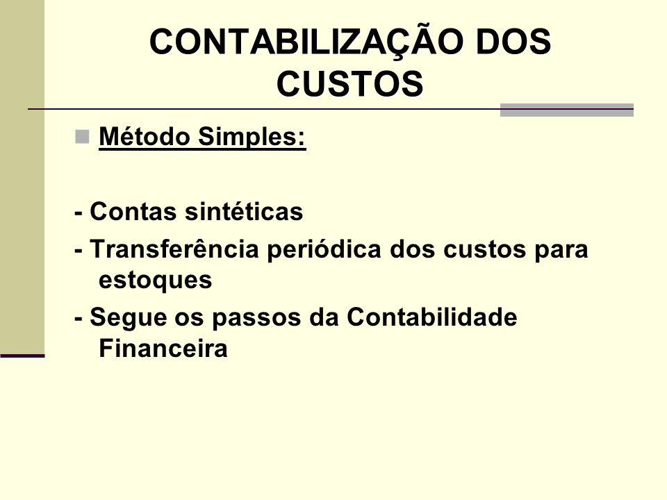CONTABILIZAÇÃO DOS CUSTOS Método Simples: Método Simples: - Contas sintéticas - Transferência periódica dos custos para estoques - Segue os passos da