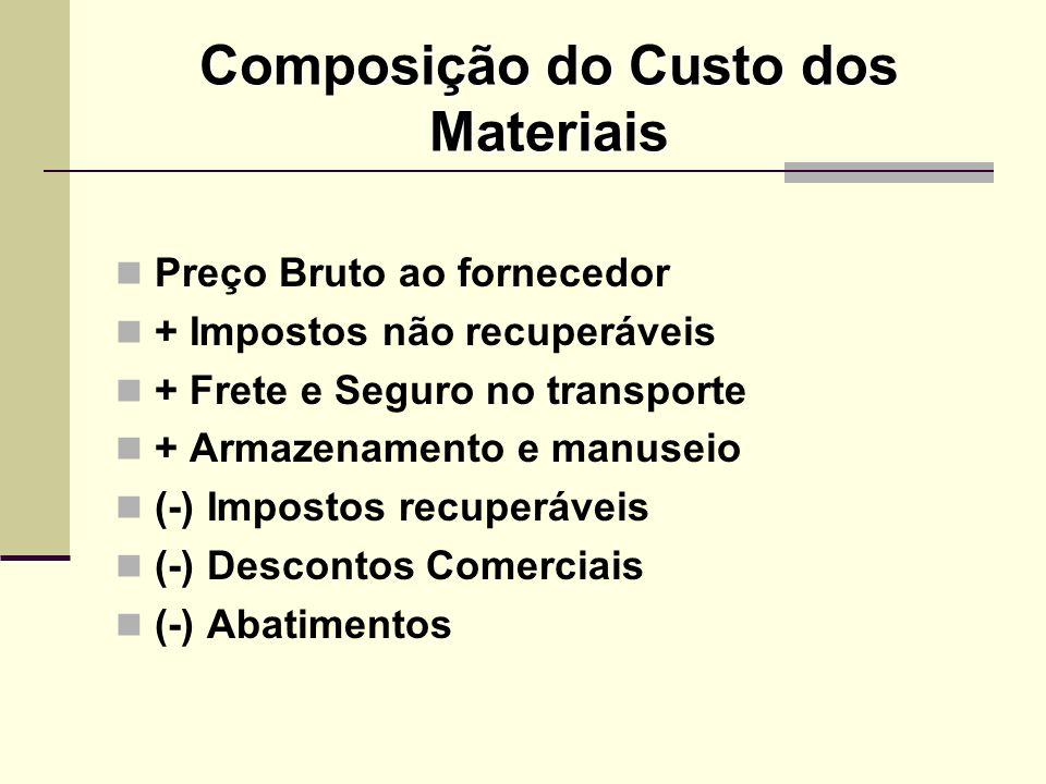 Composição do Custo dos Materiais Preço Bruto ao fornecedor + Impostos não recuperáveis + Frete e Seguro no transporte + Armazenamento e manuseio (-)