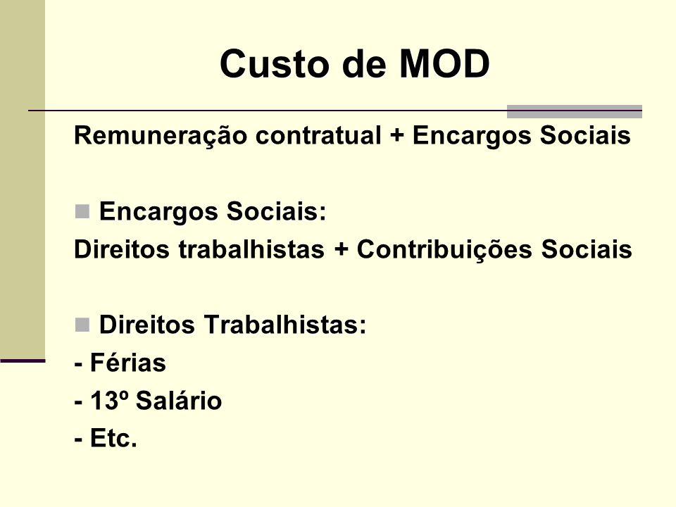 Custo de MOD Remuneração contratual + Encargos Sociais Encargos Sociais: Encargos Sociais: Direitos trabalhistas + Contribuições Sociais Direitos Trab