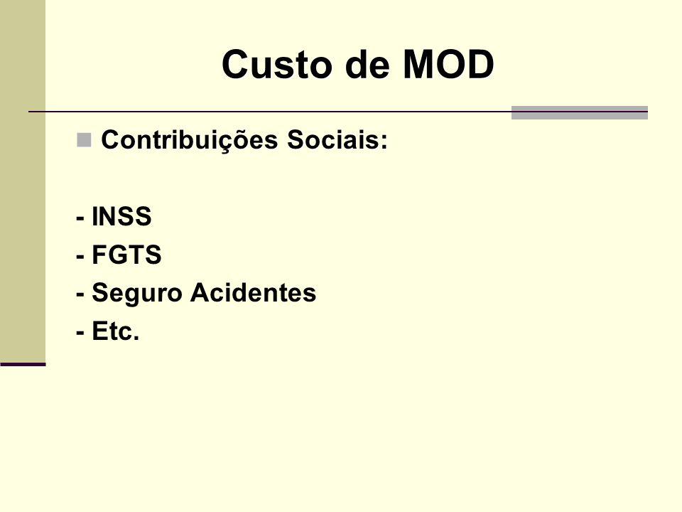 Custo de MOD Contribuições Sociais: Contribuições Sociais: - INSS - FGTS - Seguro Acidentes - Etc.