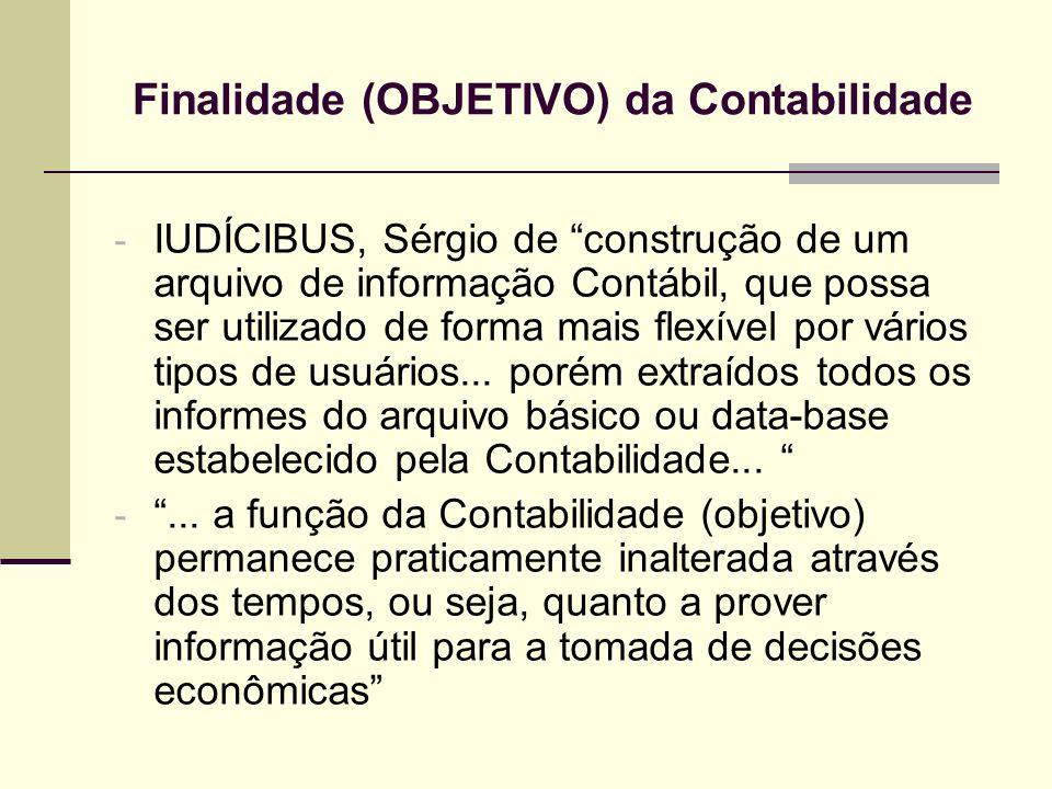 Finalidade (OBJETIVO) da Contabilidade - IUDÍCIBUS, Sérgio de construção de um arquivo de informação Contábil, que possa ser utilizado de forma mais f
