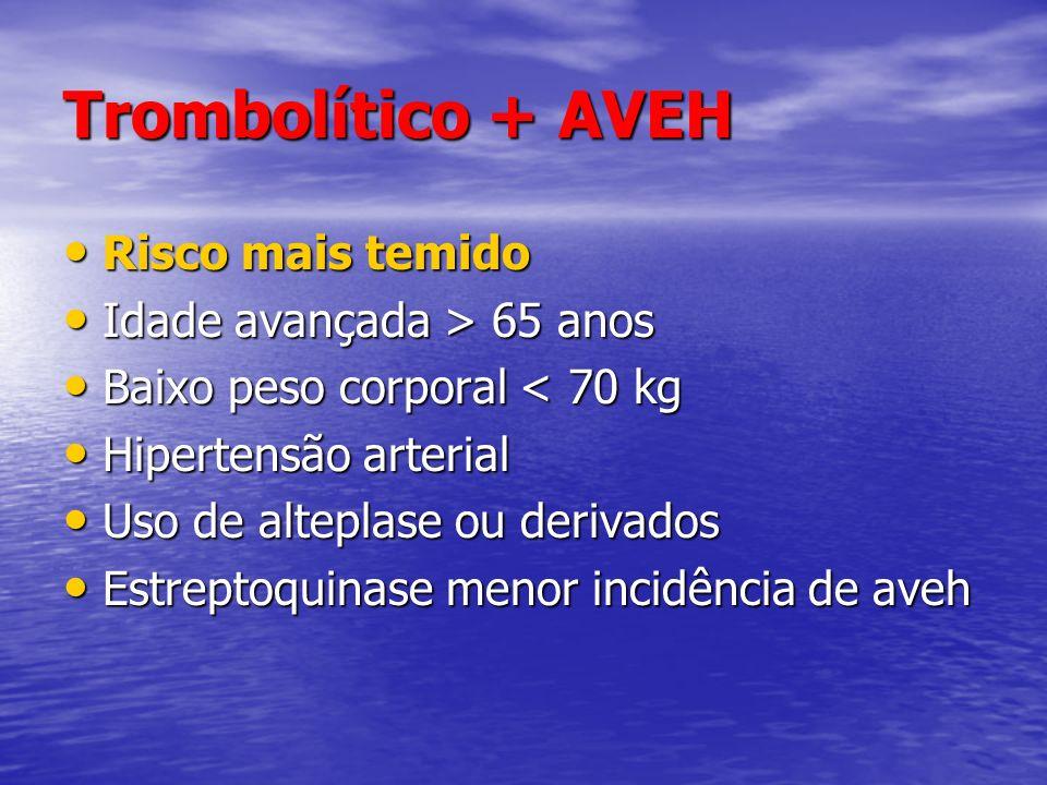 Trombolítico + AVEH Risco mais temido Risco mais temido Idade avançada > 65 anos Idade avançada > 65 anos Baixo peso corporal < 70 kg Baixo peso corpo