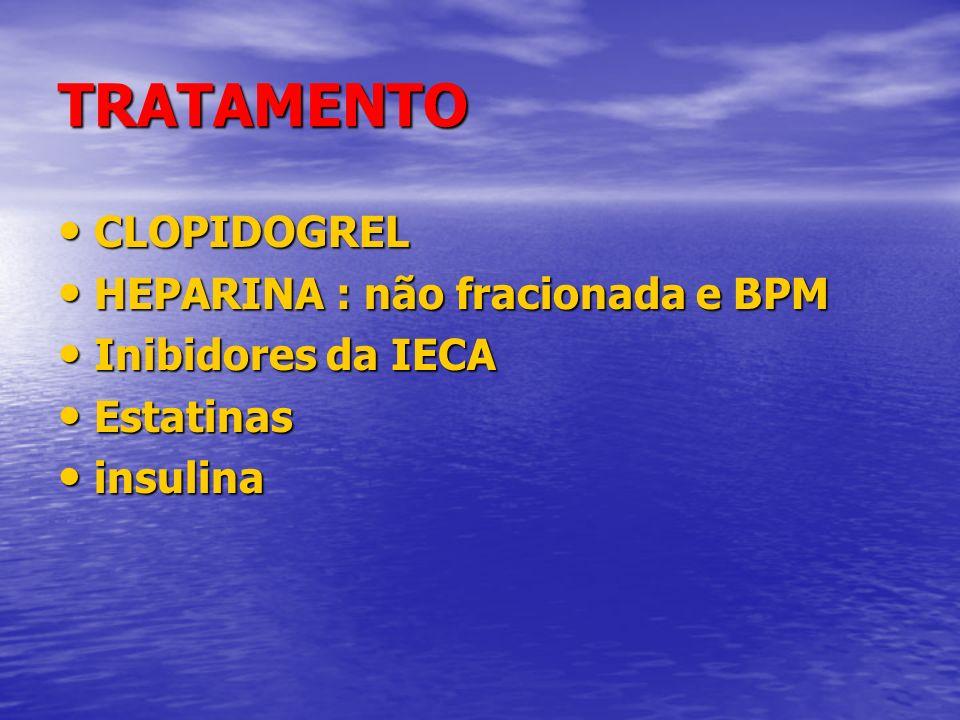 TRATAMENTO CLOPIDOGREL CLOPIDOGREL HEPARINA : não fracionada e BPM HEPARINA : não fracionada e BPM Inibidores da IECA Inibidores da IECA Estatinas Est