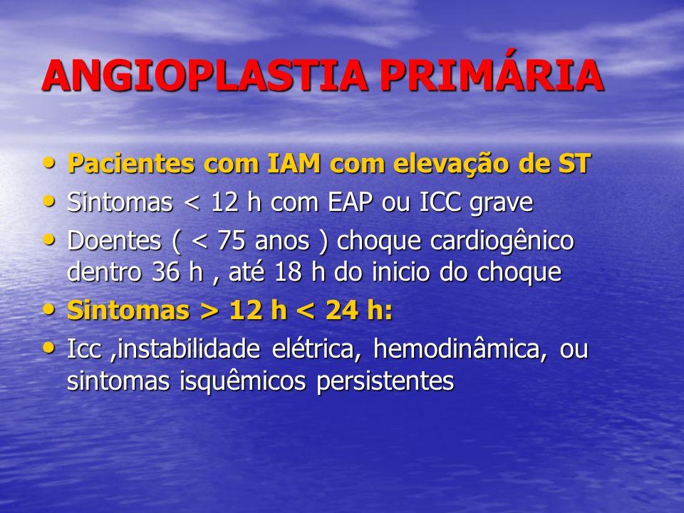 ANGIOPLASTIA PRIMÁRIA Pacientes com IAM com elevação de ST Pacientes com IAM com elevação de ST Sintomas < 12 h com EAP ou ICC grave Sintomas < 12 h c