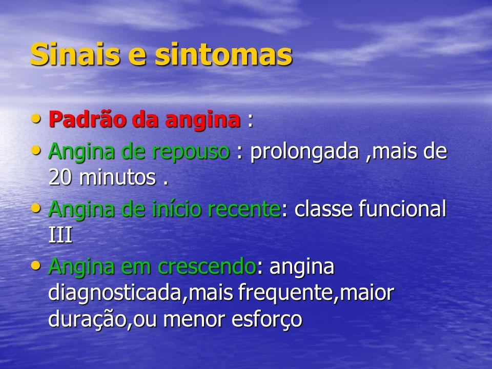 Sinais e sintomas Padrão da angina : Padrão da angina : Angina de repouso : prolongada,mais de 20 minutos. Angina de repouso : prolongada,mais de 20 m