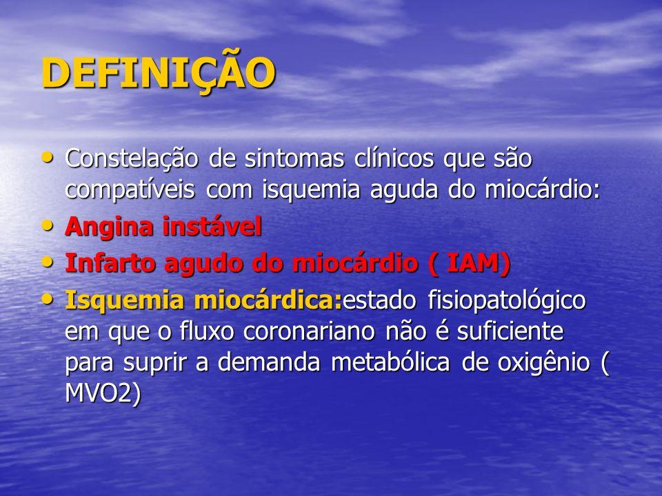 DEFINIÇÃO Constelação de sintomas clínicos que são compatíveis com isquemia aguda do miocárdio: Constelação de sintomas clínicos que são compatíveis c