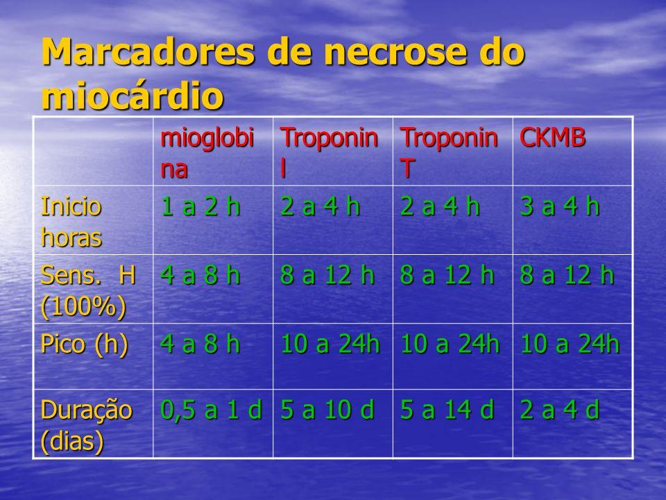 Marcadores de necrose do miocárdio mioglobi na Troponin l Troponin T CKMB Inicio horas 1 a 2 h 2 a 4 h 3 a 4 h Sens. H (100%) 4 a 8 h 8 a 12 h Pico (h