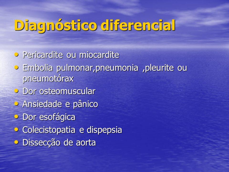 Diagnóstico diferencial Pericardite ou miocardite Pericardite ou miocardite Embolia pulmonar,pneumonia,pleurite ou pneumotórax Embolia pulmonar,pneumo