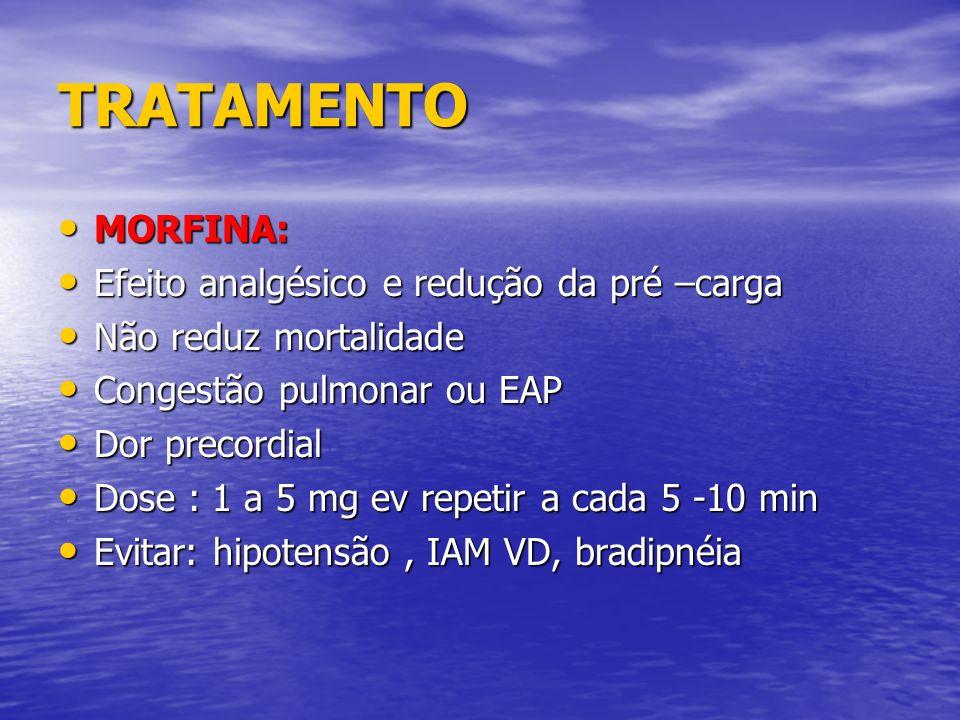TRATAMENTO MORFINA: MORFINA: Efeito analgésico e redução da pré –carga Efeito analgésico e redução da pré –carga Não reduz mortalidade Não reduz morta