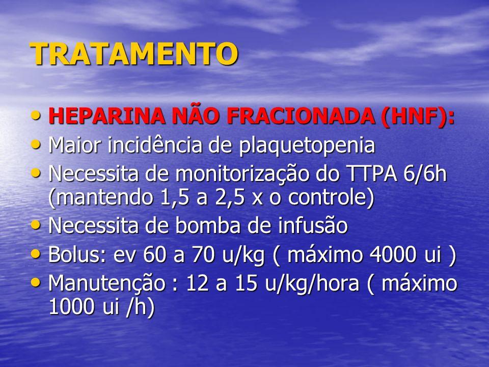 TRATAMENTO HEPARINA NÃO FRACIONADA (HNF): HEPARINA NÃO FRACIONADA (HNF): Maior incidência de plaquetopenia Maior incidência de plaquetopenia Necessita
