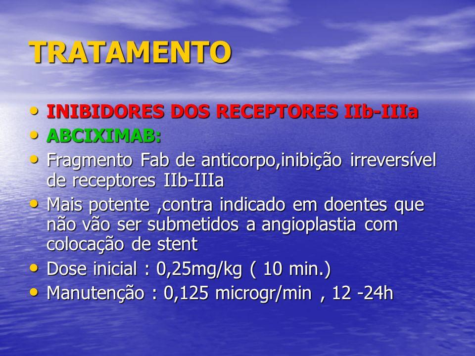 TRATAMENTO INIBIDORES DOS RECEPTORES IIb-IIIa INIBIDORES DOS RECEPTORES IIb-IIIa ABCIXIMAB: ABCIXIMAB: Fragmento Fab de anticorpo,inibição irreversíve