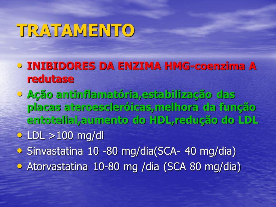 TRATAMENTO INIBIDORES DA ENZIMA HMG-coenzima A redutase INIBIDORES DA ENZIMA HMG-coenzima A redutase Ação antinflamatória,estabilização das placas ate