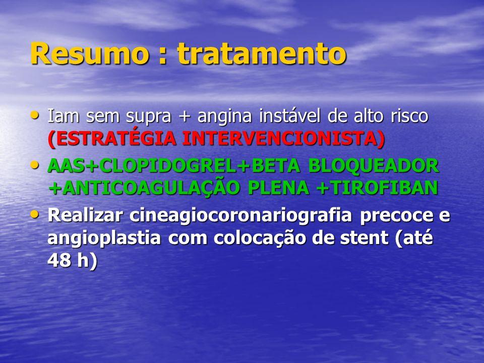 Resumo : tratamento Iam sem supra + angina instável de alto risco (ESTRATÉGIA INTERVENCIONISTA) Iam sem supra + angina instável de alto risco (ESTRATÉ