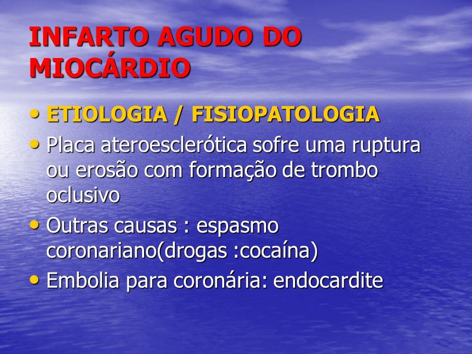 INFARTO AGUDO DO MIOCÁRDIO ETIOLOGIA / FISIOPATOLOGIA ETIOLOGIA / FISIOPATOLOGIA Placa ateroesclerótica sofre uma ruptura ou erosão com formação de tr
