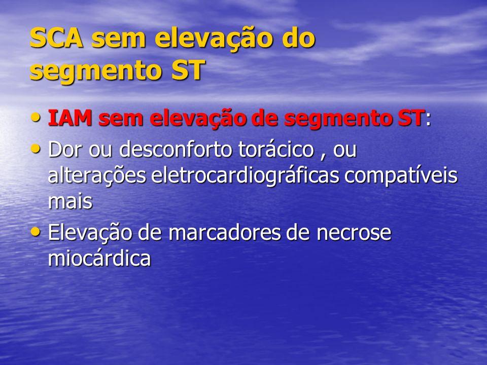 SCA sem elevação do segmento ST IAM sem elevação de segmento ST: IAM sem elevação de segmento ST: Dor ou desconforto torácico, ou alterações eletrocar