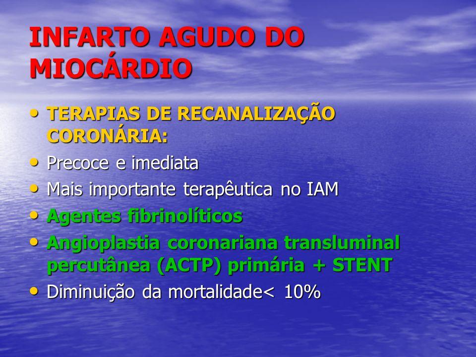 INFARTO AGUDO DO MIOCÁRDIO TERAPIAS DE RECANALIZAÇÃO CORONÁRIA: TERAPIAS DE RECANALIZAÇÃO CORONÁRIA: Precoce e imediata Precoce e imediata Mais import