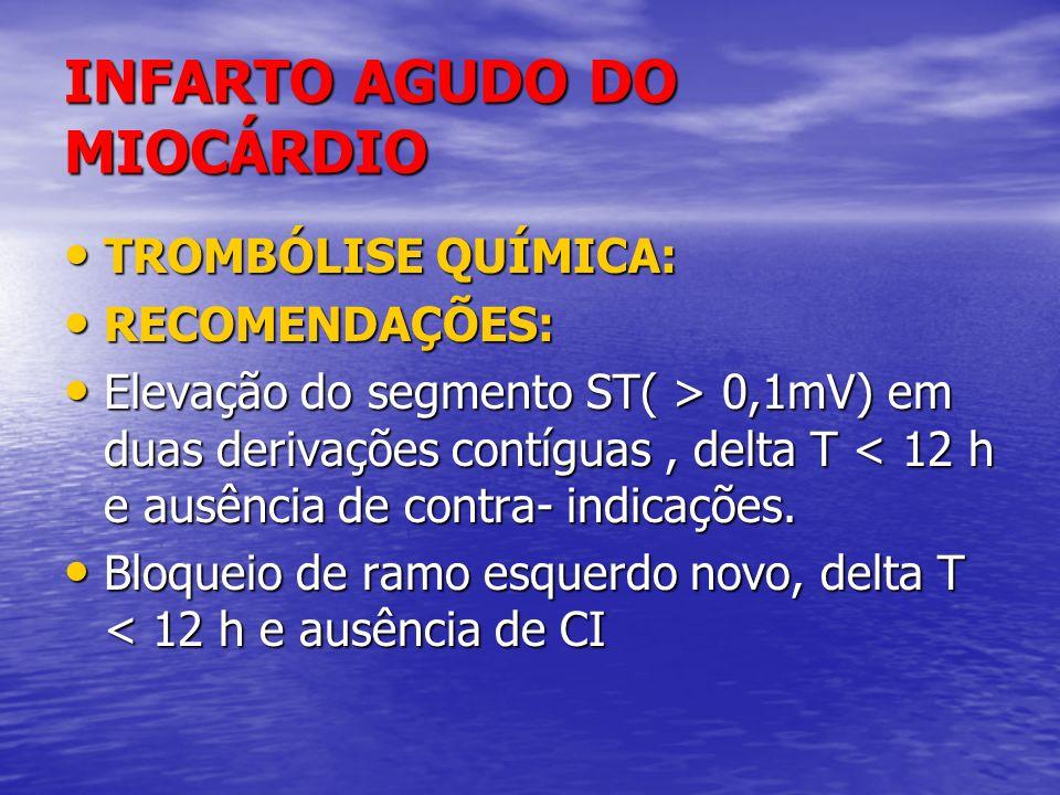 INFARTO AGUDO DO MIOCÁRDIO TROMBÓLISE QUÍMICA: TROMBÓLISE QUÍMICA: RECOMENDAÇÕES: RECOMENDAÇÕES: Elevação do segmento ST( > 0,1mV) em duas derivações