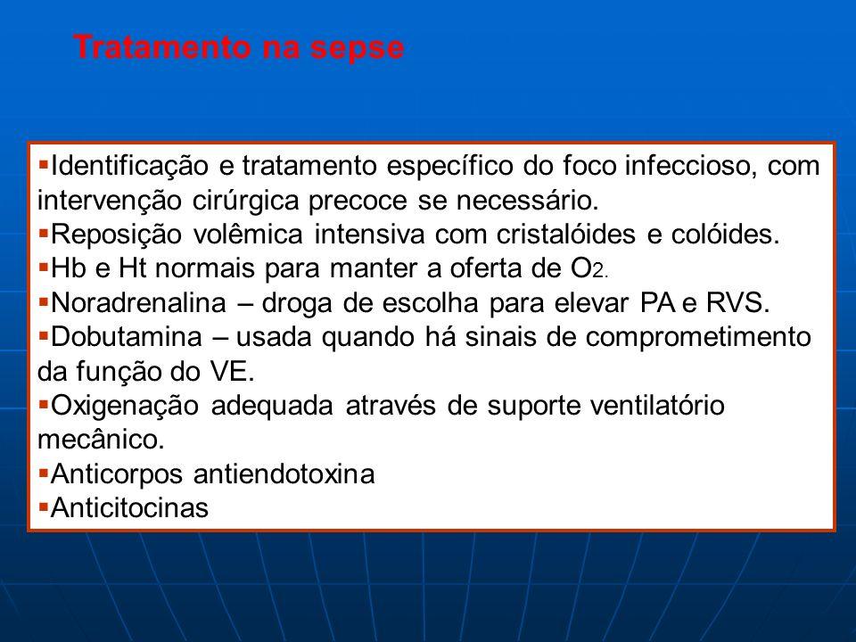 Tratamento na sepse Identificação e tratamento específico do foco infeccioso, com intervenção cirúrgica precoce se necessário. Reposição volêmica inte