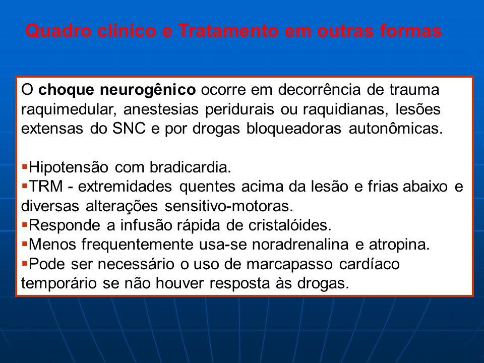 Quadro clínico e Tratamento em outras formas O choque neurogênico ocorre em decorrência de trauma raquimedular, anestesias peridurais ou raquidianas,