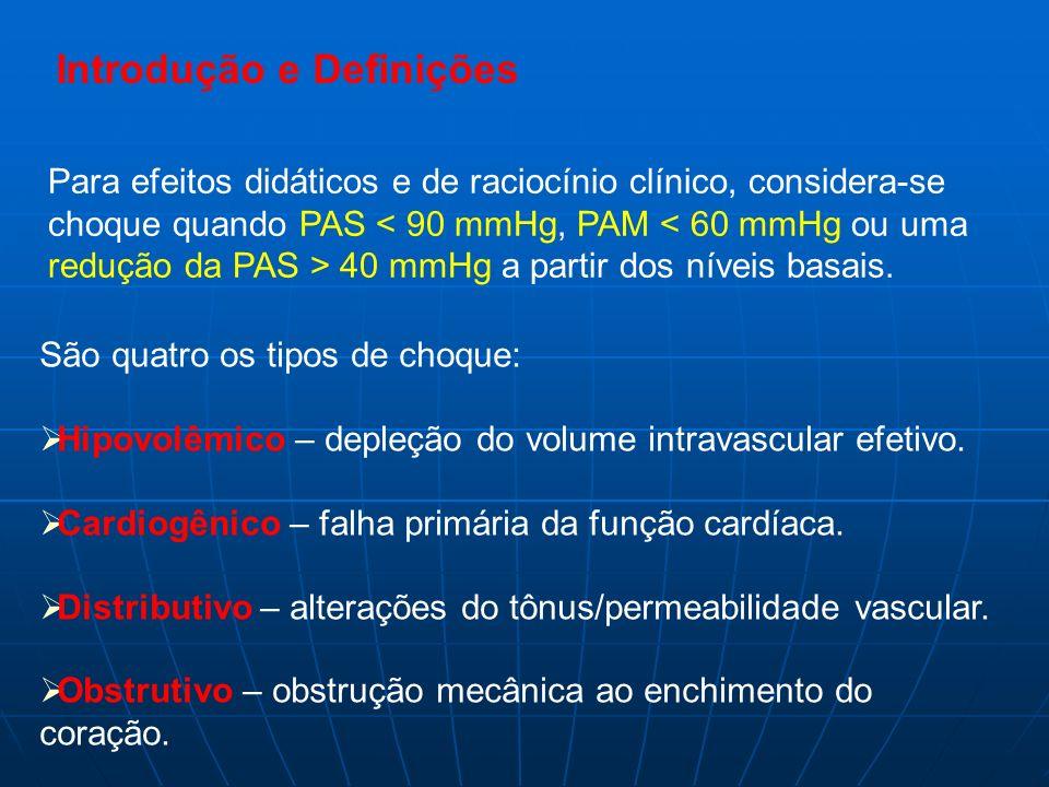 Para efeitos didáticos e de raciocínio clínico, considera-se choque quando PAS 40 mmHg a partir dos níveis basais. São quatro os tipos de choque: Hipo