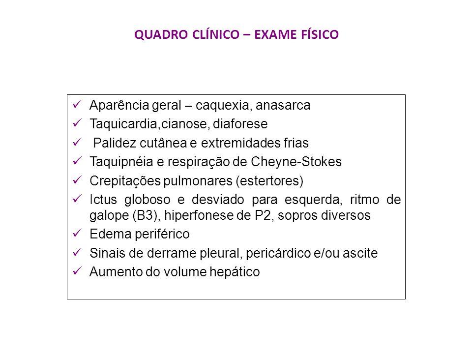 QUADRO CLÍNICO – EXAME FÍSICO Aparência geral – caquexia, anasarca Taquicardia,cianose, diaforese Palidez cutânea e extremidades frias Taquipnéia e re