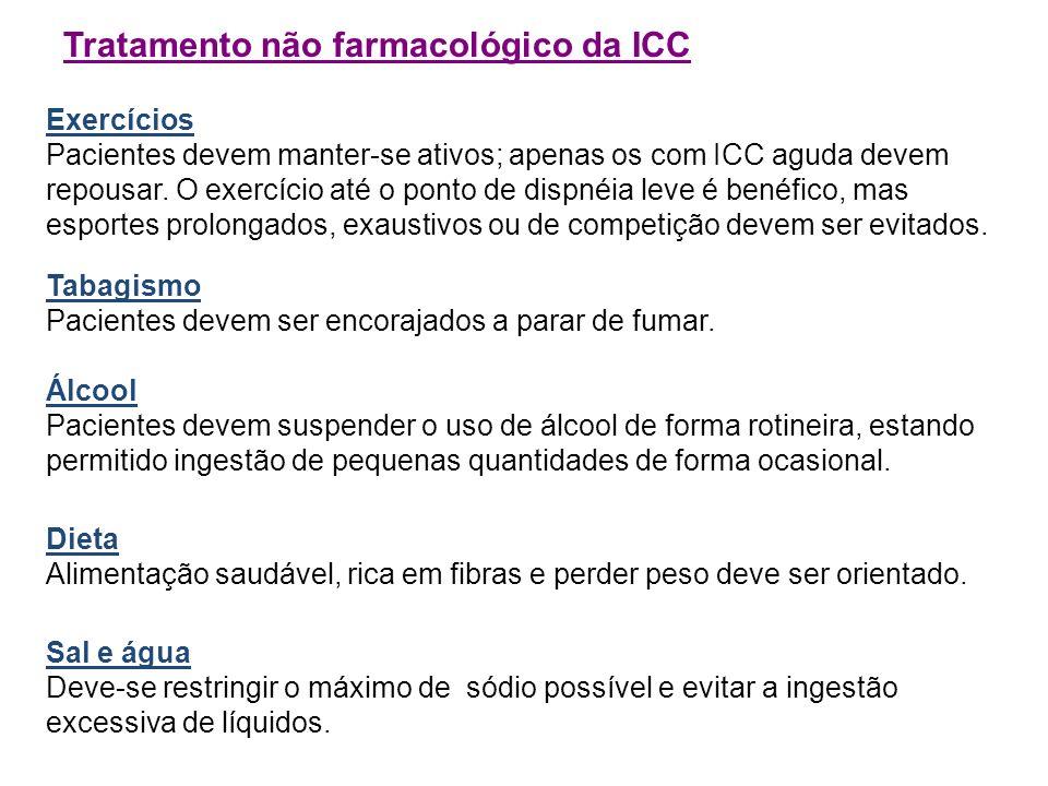 Tratamento não farmacológico da ICC Exercícios Pacientes devem manter-se ativos; apenas os com ICC aguda devem repousar. O exercício até o ponto de di