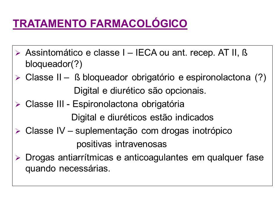 TRATAMENTO FARMACOLÓGICO Assintomático e classe I – IECA ou ant. recep. AT II, ß bloqueador(?) Classe II – ß bloqueador obrigatório e espironolactona