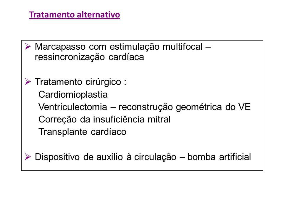 Tratamento alternativo Marcapasso com estimulação multifocal – ressincronização cardíaca Tratamento cirúrgico : Cardiomioplastia Ventriculectomia – re