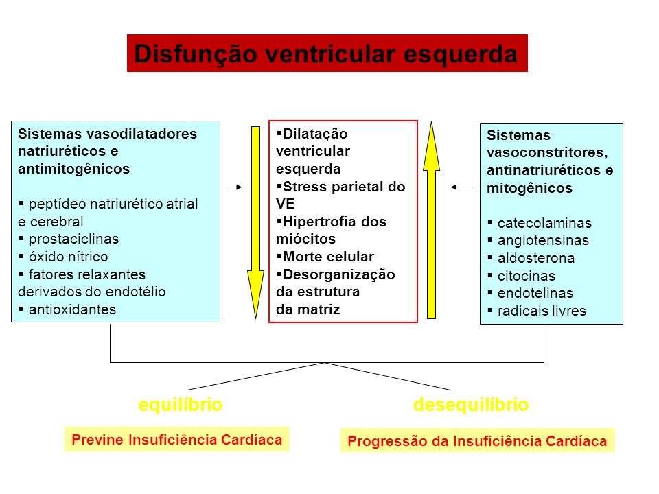 Disfunção ventricular esquerda equilíbriodesequilíbrio Previne Insuficiência Cardíaca Progressão da Insuficiência Cardíaca Sistemas vasodilatadores na