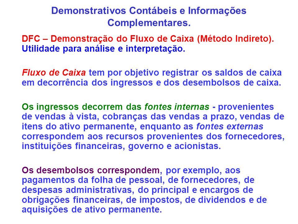 Demonstrativos Contábeis e Informações Complementares. DFC – Demonstração do Fluxo de Caixa (Método Indireto). Utilidade para análise e interpretação.