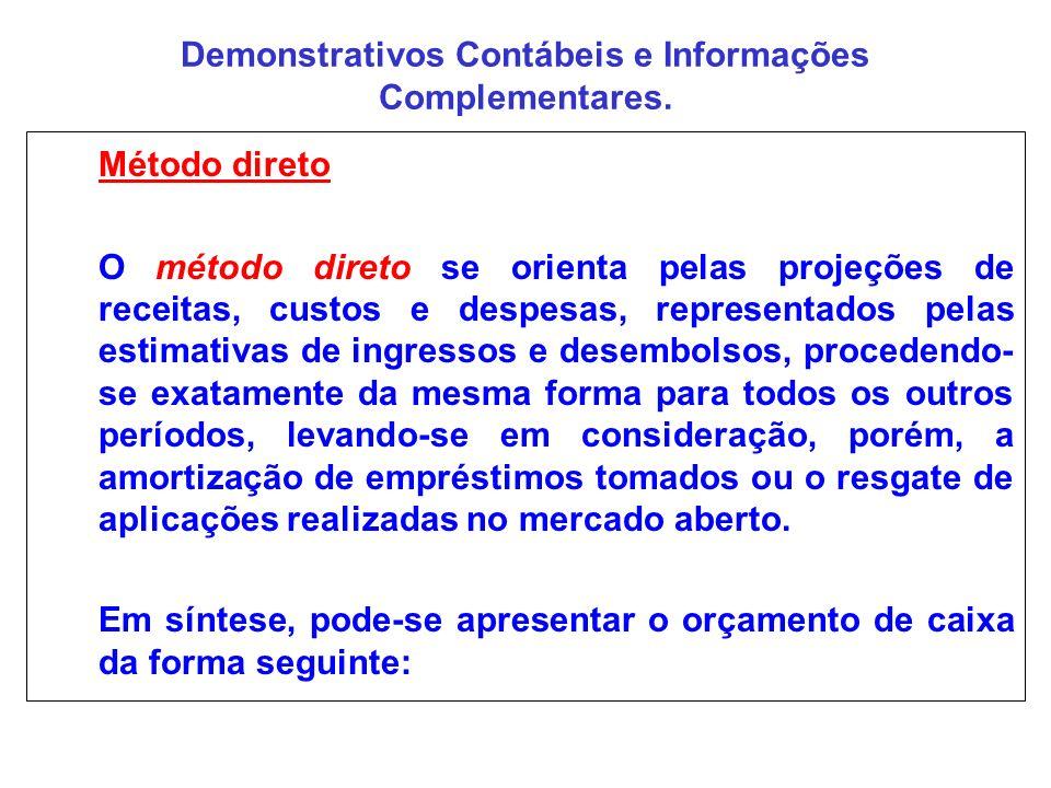 Demonstrativos Contábeis e Informações Complementares. Método direto O método direto se orienta pelas projeções de receitas, custos e despesas, repres