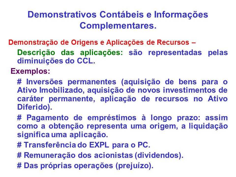 Demonstrativos Contábeis e Informações Complementares. Demonstração de Origens e Aplicações de Recursos – Descrição das aplicações: são representadas