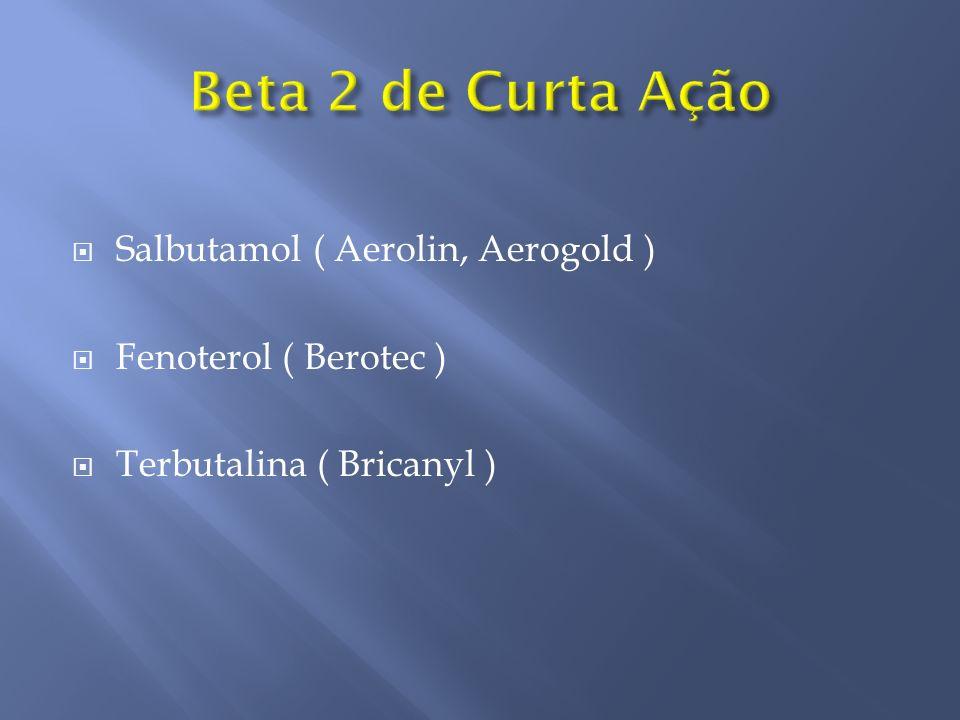 Salbutamol ( Aerolin, Aerogold ) Fenoterol ( Berotec ) Terbutalina ( Bricanyl )