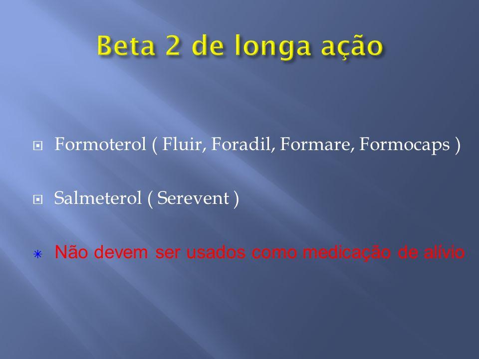 Formoterol ( Fluir, Foradil, Formare, Formocaps ) Salmeterol ( Serevent ) Não devem ser usados como medicação de alívio