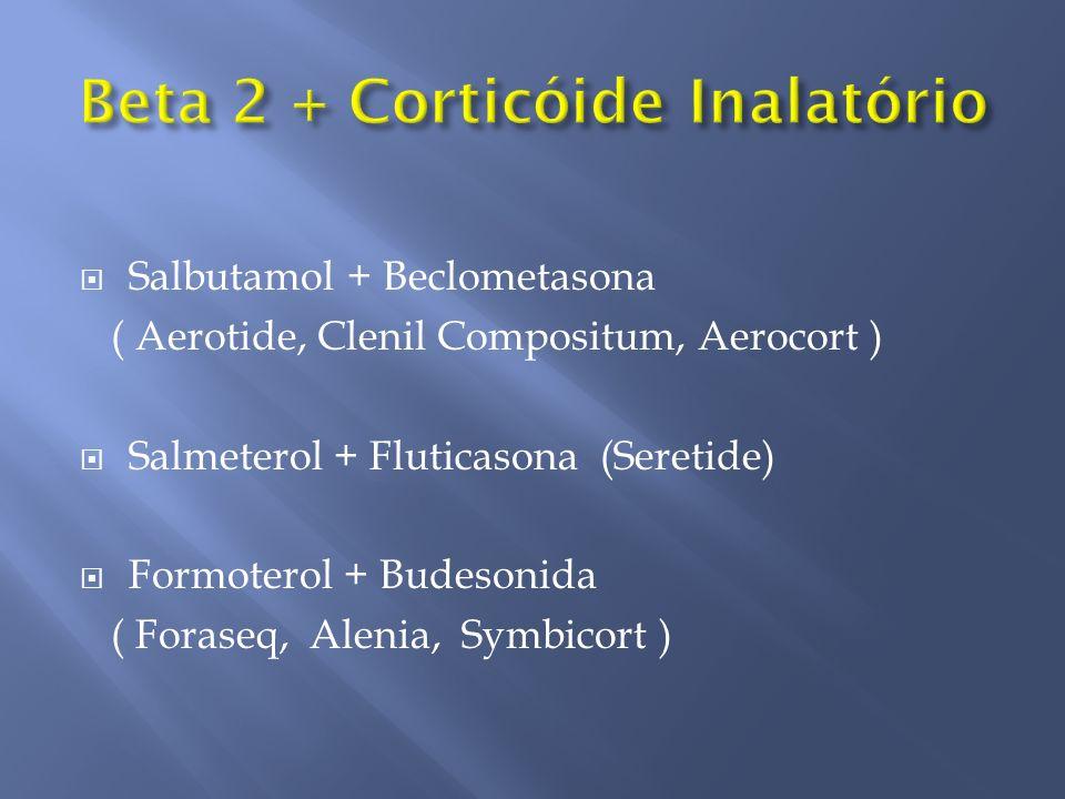 Salbutamol + Beclometasona ( Aerotide, Clenil Compositum, Aerocort ) Salmeterol + Fluticasona (Seretide) Formoterol + Budesonida ( Foraseq, Alenia, Sy