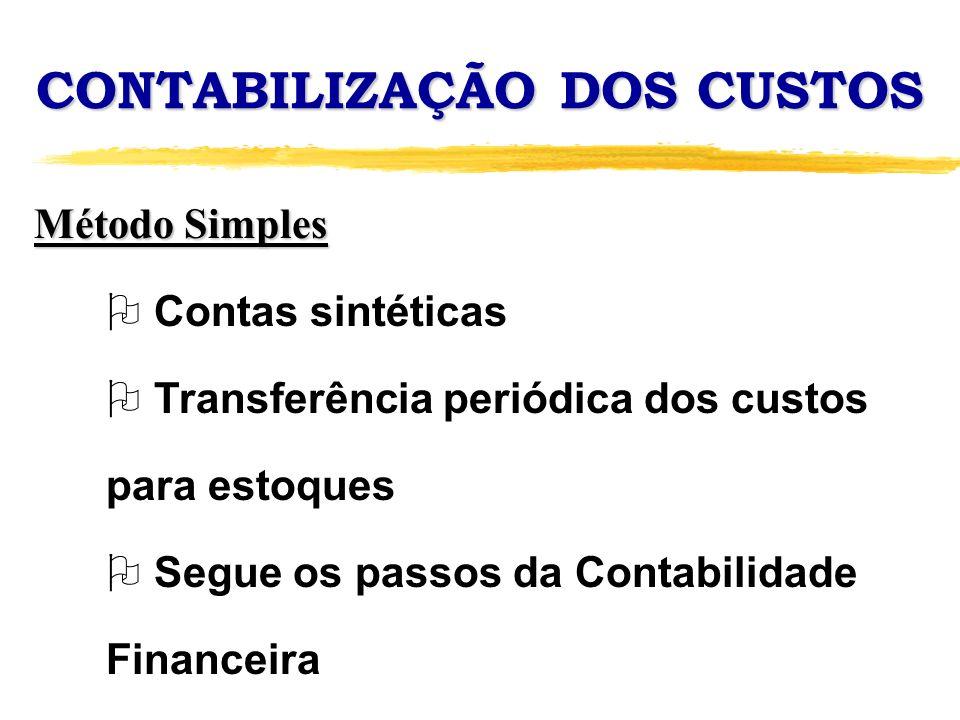 CONTABILIZAÇÃO DOS CUSTOS Método Simples O Contas sintéticas O Transferência periódica dos custos para estoques O Segue os passos da Contabilidade Fin