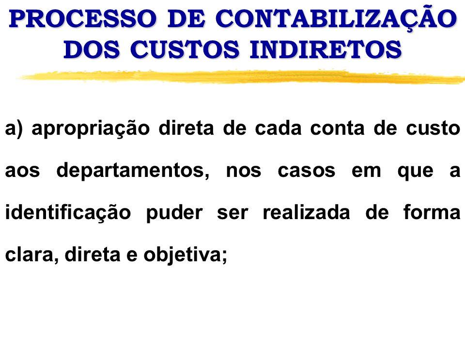 PROCESSO DE CONTABILIZAÇÃO DOS CUSTOS INDIRETOS a) apropriação direta de cada conta de custo aos departamentos, nos casos em que a identificação puder