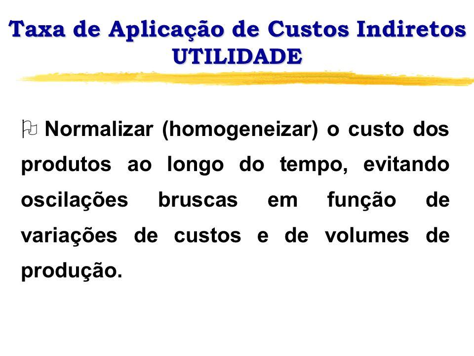 Taxa de Aplicação de Custos Indiretos UTILIDADE O Normalizar (homogeneizar) o custo dos produtos ao longo do tempo, evitando oscilações bruscas em fun