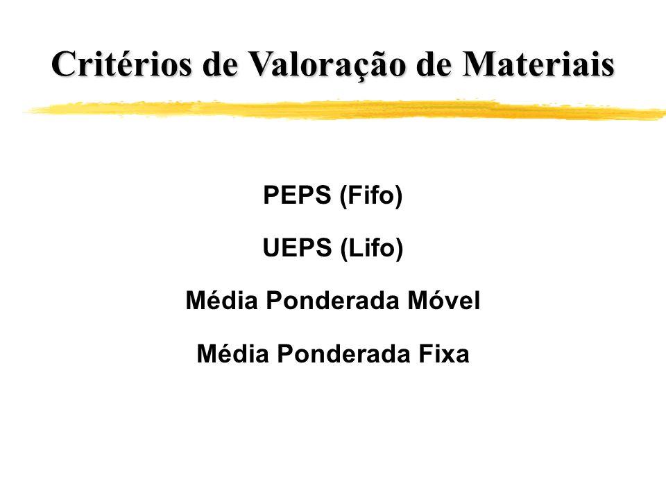 Critérios de Valoração de Materiais PEPS (Fifo) UEPS (Lifo) Média Ponderada Móvel Média Ponderada Fixa