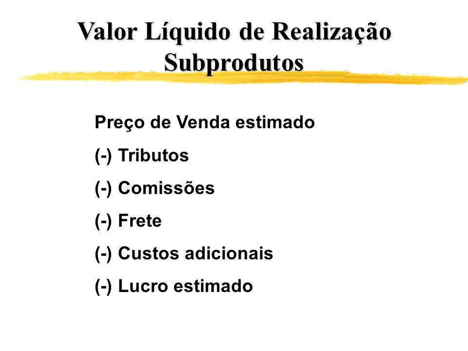 Valor Líquido de Realização Subprodutos Preço de Venda estimado (-) Tributos (-) Comissões (-) Frete (-) Custos adicionais (-) Lucro estimado