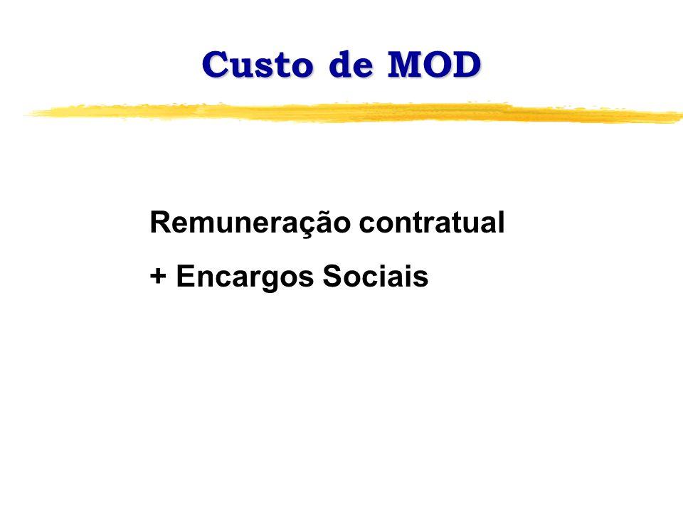 Custo de MOD Remuneração contratual + Encargos Sociais