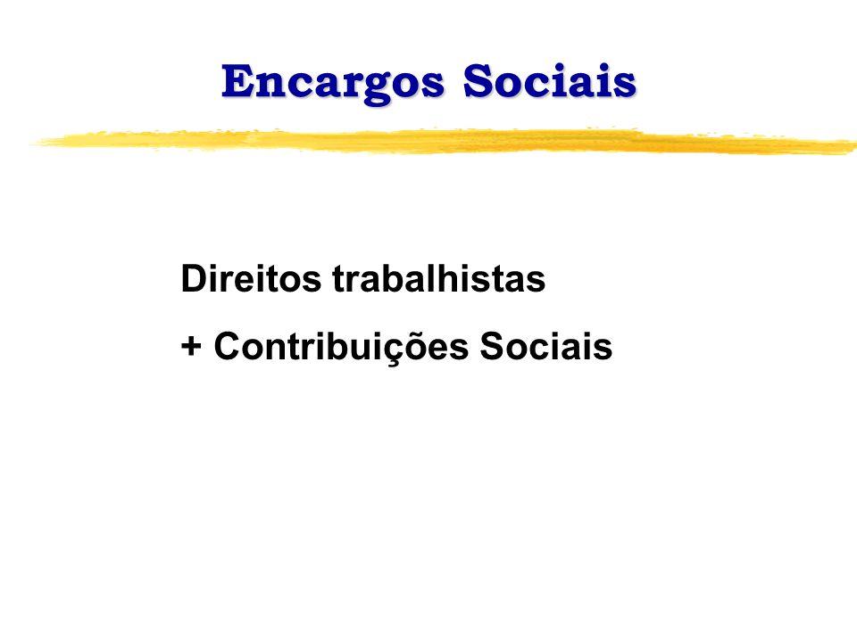 Encargos Sociais Direitos trabalhistas + Contribuições Sociais