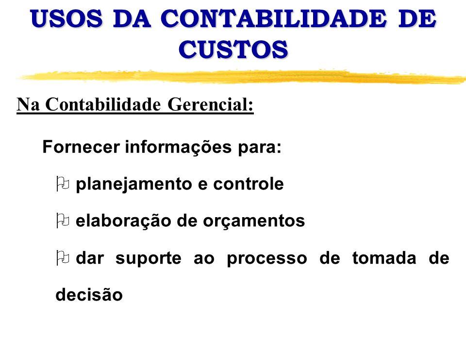 USOS DA CONTABILIDADE DE CUSTOS Fornecer informações para: O planejamento e controle O elaboração de orçamentos O dar suporte ao processo de tomada de