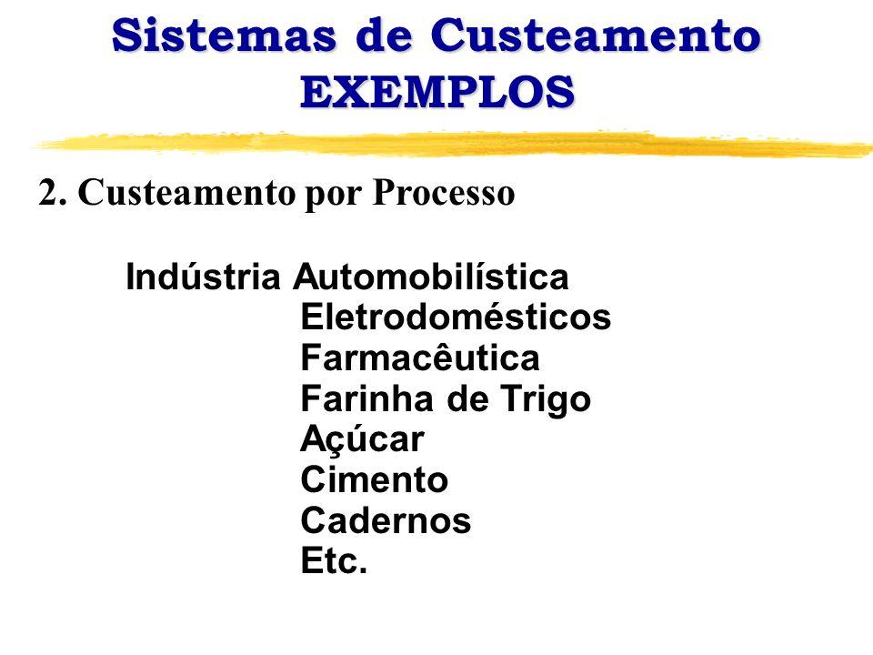 Sistemas de Custeamento EXEMPLOS 2. Custeamento por Processo Indústria Automobilística Eletrodomésticos Farmacêutica Farinha de Trigo Açúcar Cimento C
