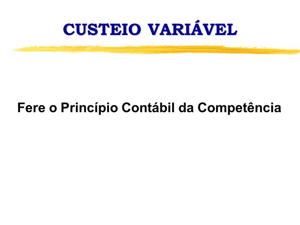 CUSTEIO VARIÁVEL Fere o Princípio Contábil da Competência