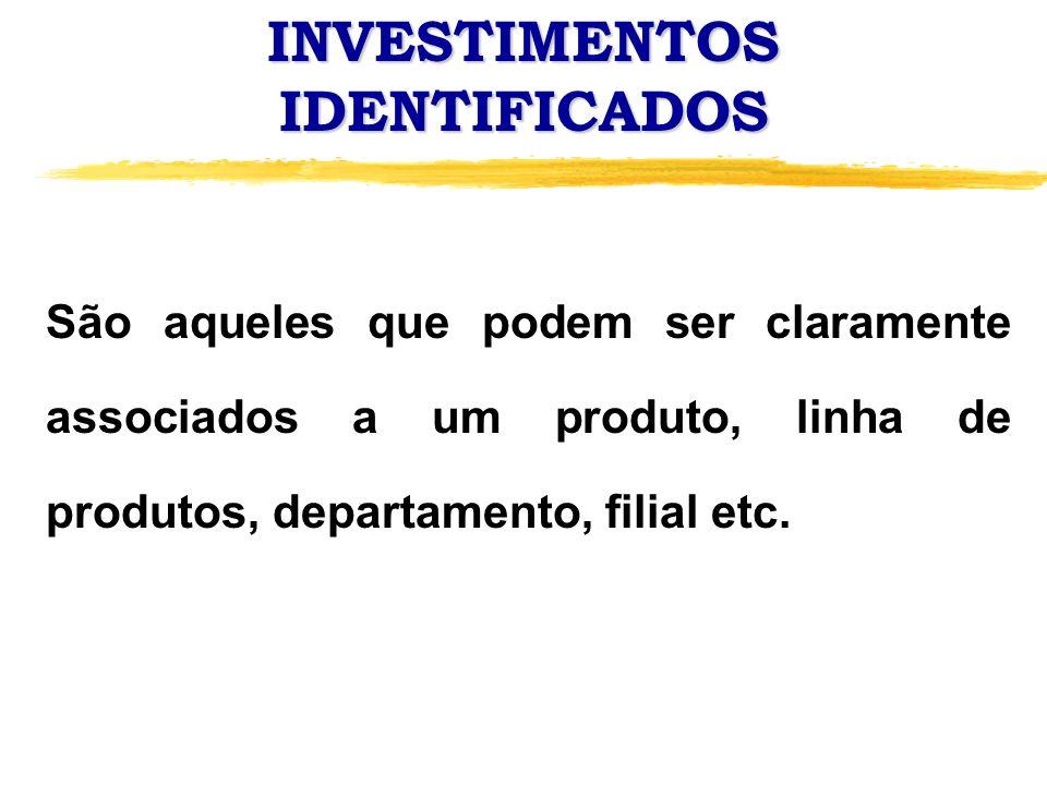 INVESTIMENTOS IDENTIFICADOS São aqueles que podem ser claramente associados a um produto, linha de produtos, departamento, filial etc.