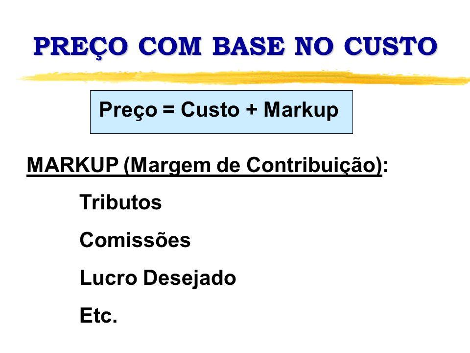 PREÇO COM BASE NO CUSTO MARKUP (Margem de Contribuição): Tributos Comissões Lucro Desejado Etc. Preço = Custo + Markup